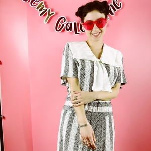 Vtg 80s Abstract Polka Dot School Girl Dress M